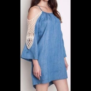 DENIM OFF-THE-SHOULDER TUNIC DRESS